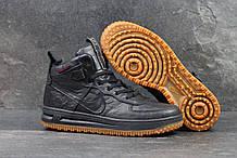 Мужские кроссовки  Nike Lunar Force 1 (найк аир форс 1 высокие, кожа, темно синие)