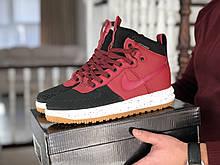 Мужские кроссовки Nike Lunar Force 1 Duckboot - Найк Лунар Форс Дакбут, высокие, красные с черным