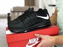 Кроссовки Nike Air Max 2015 (мужские, весна-осень, текстиль, черно белые)