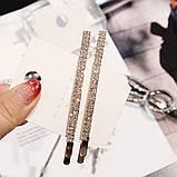 Шпилька для волосся, невидимка з сяючими кристалами 8 см 1 шт, фото 2