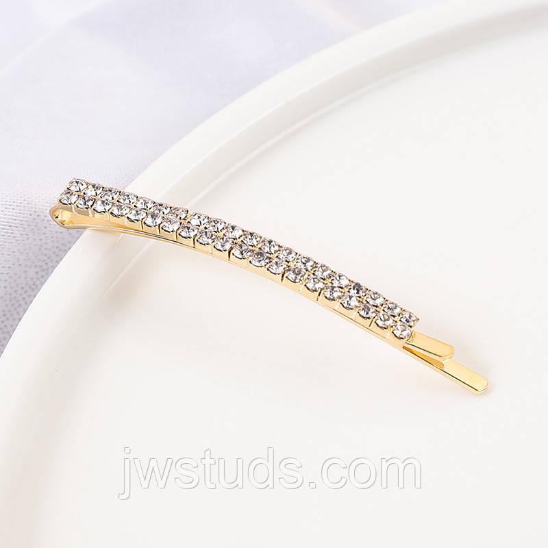 Шпилька для волосся, невидимка з сяючими кристалами 8 см 1 шт