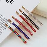 Шпилька для волосся, невидимка з сяючими кристалами 8 см 1 шт, фото 3