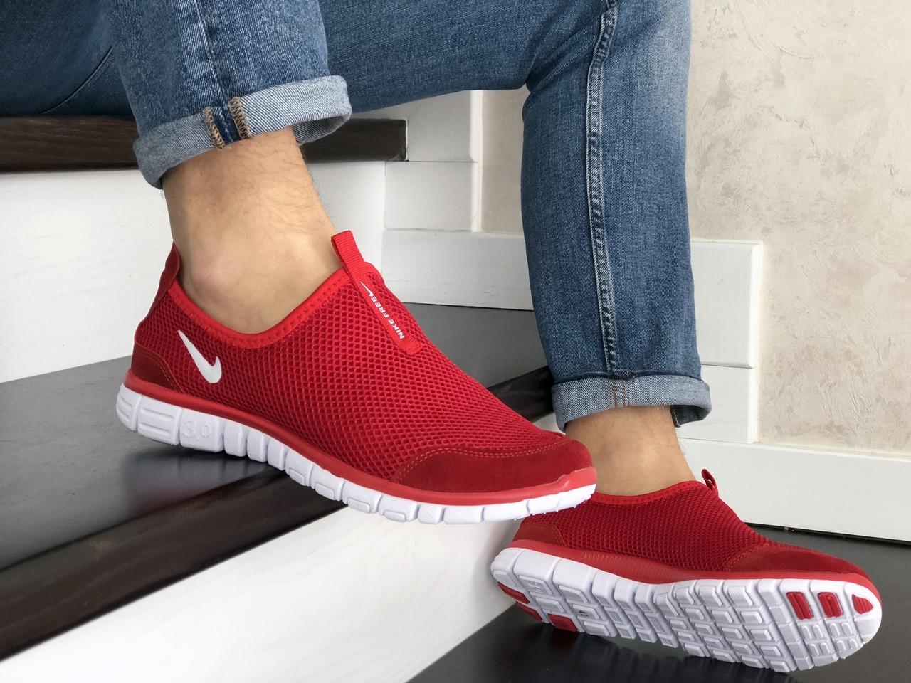 Кросівки чоловічі в стилі Nike Free Run 3.0 сітка, червоні