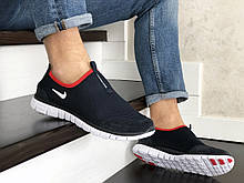 Кроссовки мужские Nike Free Run 3.0 сетка, темно синие с белым, в стиле найк фри ран