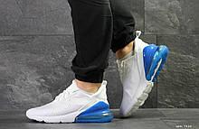Кроссовки Nike Air Max 270 (мужские, белые с синим, сетка)