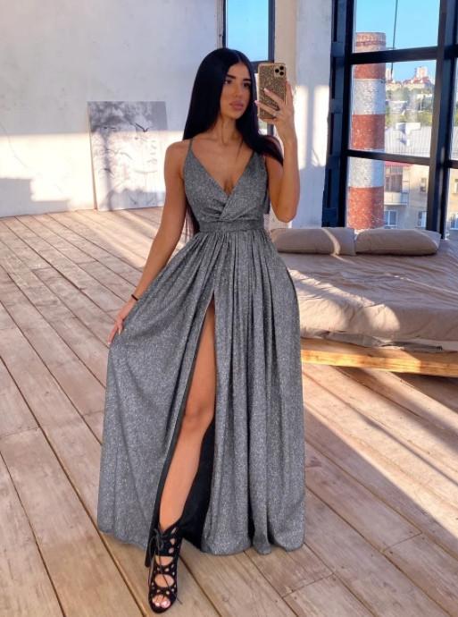 Платье в пол нарядное люрекс KT594