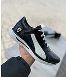 Кроссовки мужские кожаные Puma Ferrari в стиле Пума черно белые демисезонные из натуральная кожи, фото 5