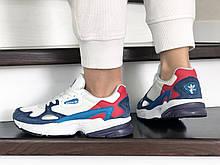 Женские летние кроссовки Adidas Falcon бело-синие легкие кроссовки в стиле Адидас, реплика
