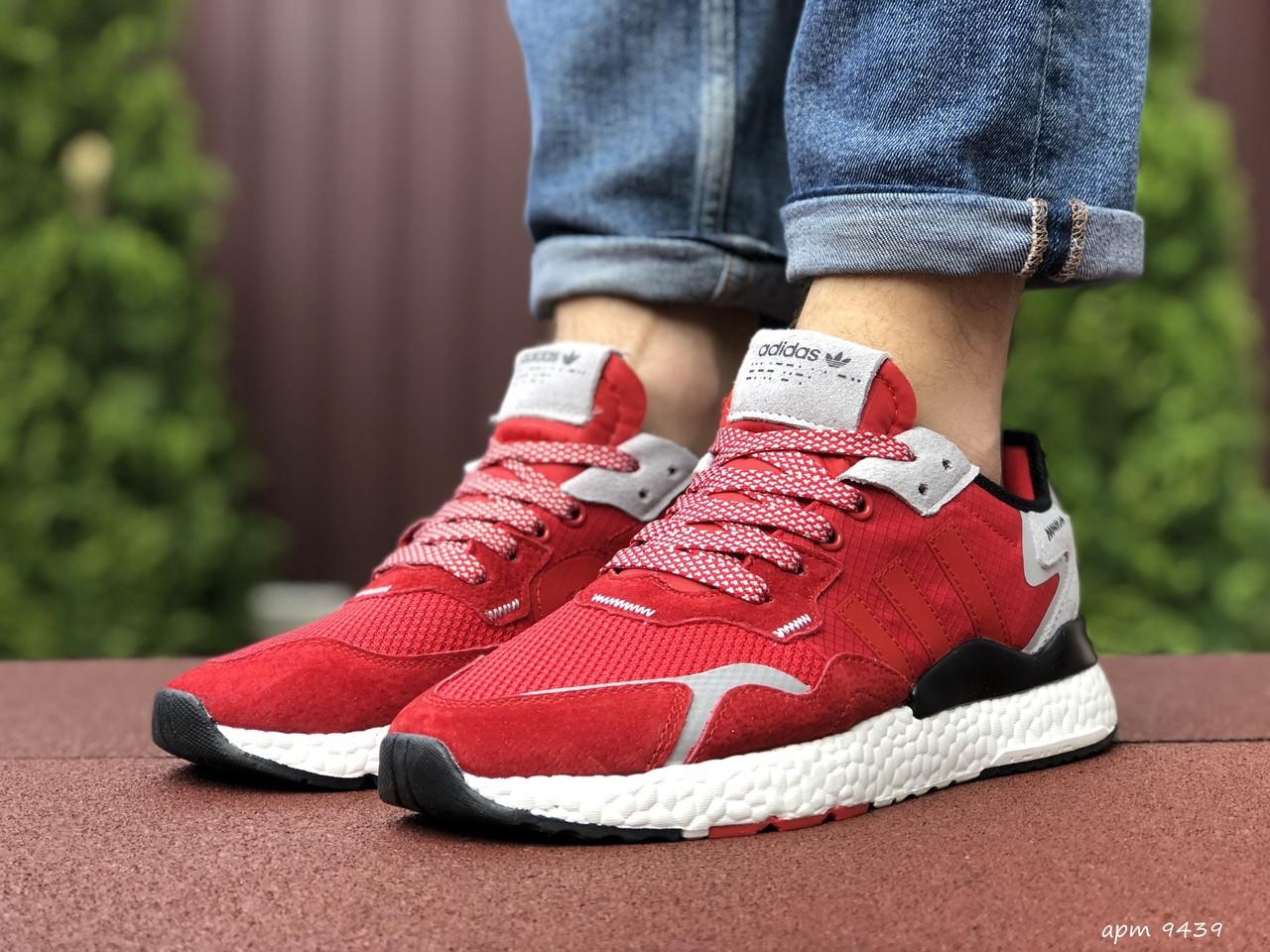 Кросівки чоловічі Nite Jogger Boost червоні 3M, демісезонні, сітка, замша, репліка