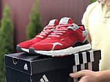 Кросівки чоловічі Nite Jogger Boost червоні 3M, демісезонні, сітка, замша, репліка, фото 2