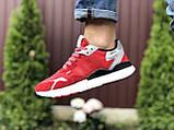 Кросівки чоловічі Nite Jogger Boost червоні 3M, демісезонні, сітка, замша, репліка, фото 3