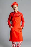 Фартук поварской/официантский с нагрудником водоотталкивающий, красный, фото 1