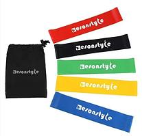 EsonStyle фитнес резинки, 5 резинок разной жесткости, Спортивные резинки, Резинки для спорт зала