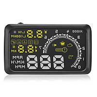 Автомобільний проектор панелі приладів на лобове скло RIAS W02 HUD OBD II Black (2_002647)