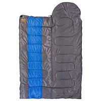 Спальник GreenCamp, одеяло, 450гр/м2, серый-синий, GRC1009