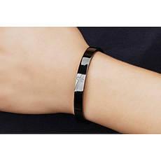 Жесткие парные браслеты для двоих влюбленных черный и золотой медицинская сталь цирконий позолота гравировка, фото 3