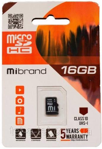 Карта пам'яті Mibrand microSDHC 16GB Class 10 UHS-1 (без адаптера)