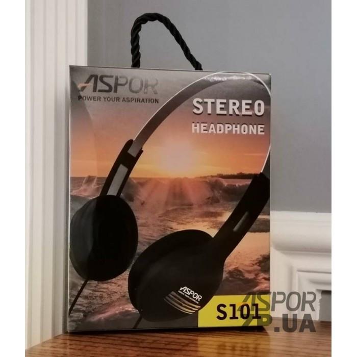 Накладні навушники з мікрофоном Aspor S101 - чорний