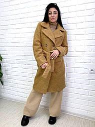 Пальто из букле 42, горчица