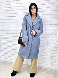Пальто из букле 48, голубой