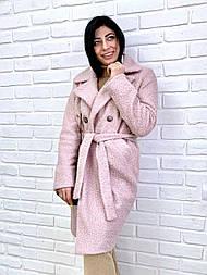 Пальто из букле 44, пудра