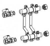 """""""REHAU"""" Коллектор рас. HLV 4 для систем отопления, 4 контура 3/4"""", компл. с 2 шаровыми кранами 1"""""""