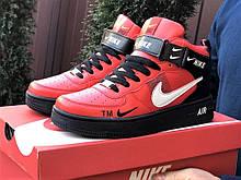 Кроссовки Найк Аир Форс мужские черные с красным демисезонные Nike Air Force червоні з чорним демісезонні