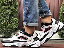 Мужские демисезонные кроссовки Nike M2K Tekno белые с черным/красным (Найк чоловічі)