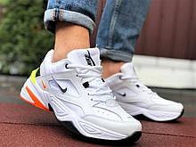 Мужские демисезонные кроссовки Nike M2K Tekno белые с оранжевым (Найк чоловічі)