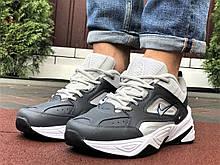Мужские демисезонные кроссовки Nike M2K Tekno темно-серые с бежевым (Найк м2к текно чоловічі)