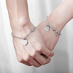 Парні браслети для двох закоханих Серце на ланцюжку під гравіювання медична сталь