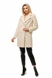 Женское качественное фабричное демисезонное шерстяное альпака прямое двубортное пальто с поясом