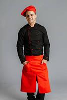 Фартук поварской/официантский  от пояса до колен,ВО,красный