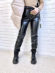 Джоггеры з екошкіри XL, чорний