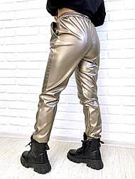 Джоггеры з екошкіри M, золото