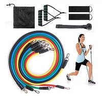 Набор эспандеров для фитнеса, Комплект трубчатых эспандеров для упражнений Power Resistance Bands в чехлеJT-0, фото 1