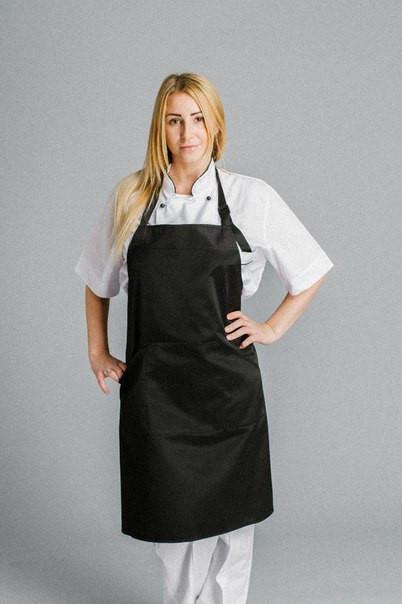 Фартук поварской/официантский с нагрудником водоотталкивающий,черный