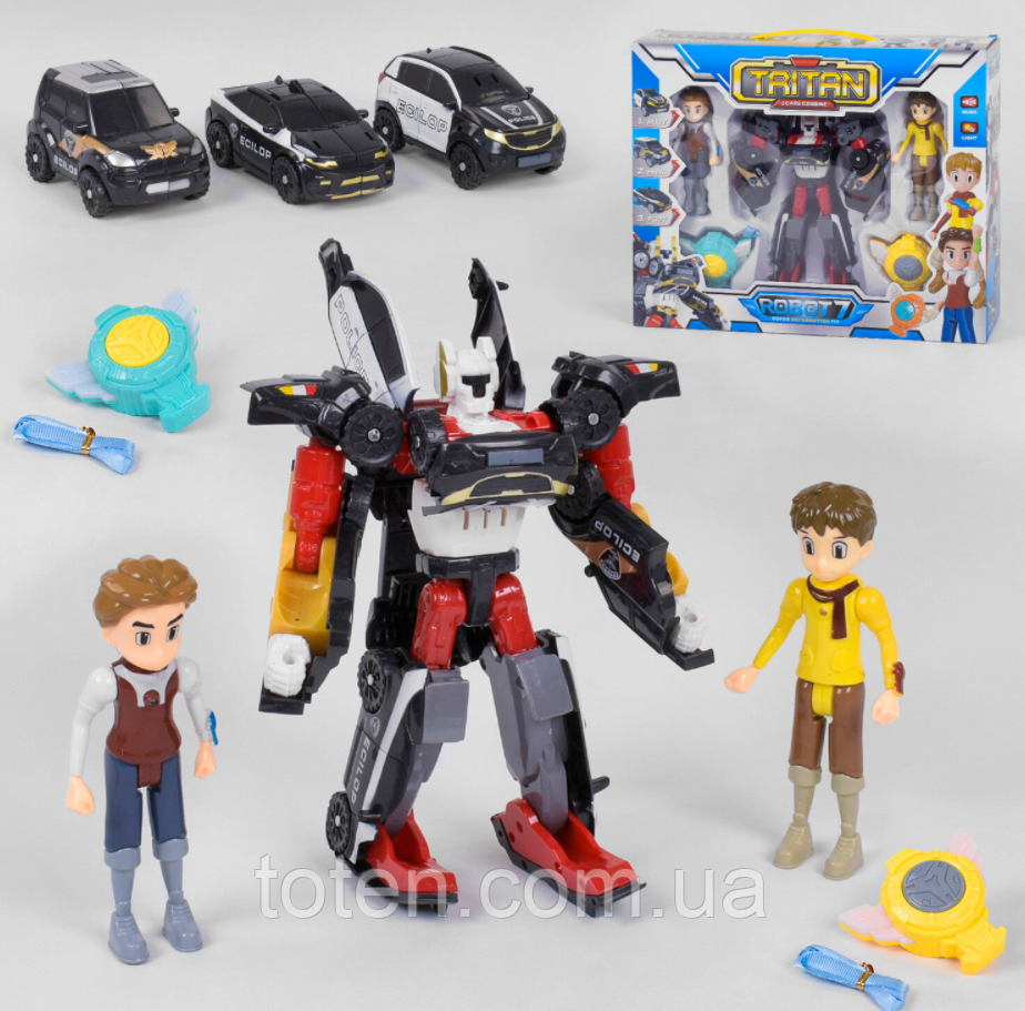 Іграшка Тобот робот-трансформер Q1906 Тритан з героями 21,5 см, фігурки 2 шт 14 см, музика, звук, світло