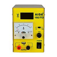 Блок питания AIDA 1502TD USB, 15V/5V, цифровая индикация, 2A стрелочная индикация, автовосстановление после КЗ