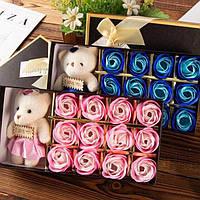 Подарочный набор мыла из роз Rose Bear, парфюмированное сувенирное мыло + МИШКА, фото 1