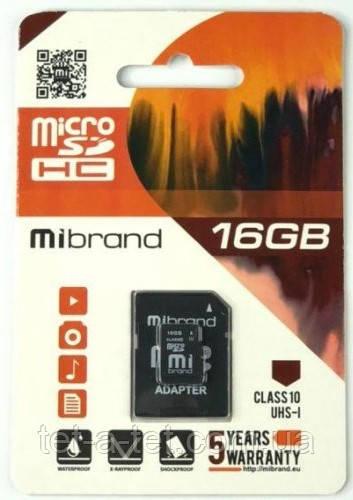 Карта памяти Mibrand microSDHC 16GB Class 10 UHS-1 (с адапетром)