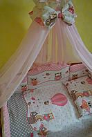 """Постельный набор в детскую кроватку """"Совята"""" для девочки серо-розового цвета , фото 1"""
