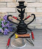 Кальян Playboy на две персоны черный 31 см с углем и фольгой, фото 1