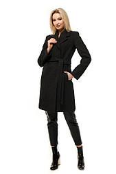 Женское качественное фабричное демисезонное шерстяное прямое пальто с поясом