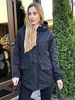 Женская черная куртка парка весенняя осенняя
