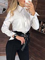 Сорочка жіноча елегантна класична з видовженими манжетами на гудзиках Rpr690
