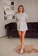 """6601(55)8829602(55)03 Комплект для беременных и кормящих """"Рита"""" (футболка+шорты+укороченный халат) Розовый, фото 1"""