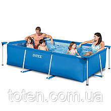 Каркасний прямокутний басейн розмір 220 см x 60 см x 150 див. Об'єм басейну: 1662 л Intex 28270