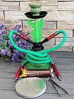 Кальян Плейбой на дві персони зелений 31 см з вугіллям і фольгою, фото 1