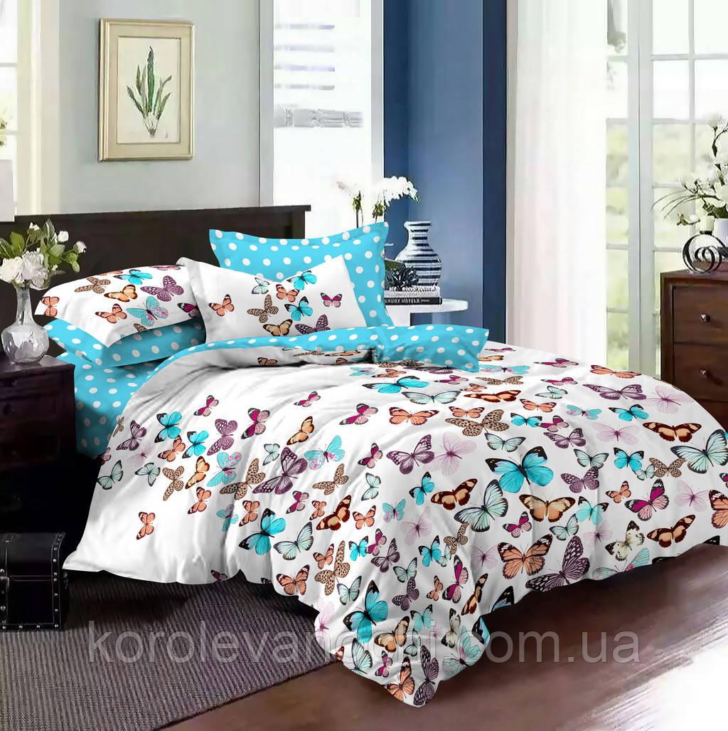 """Двуспальный комплект (Бязь)   Постельное белье от производителя """"Королева Ночи""""   Бабочки на белом и голубом"""
